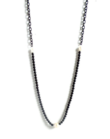 Onyx and Pearl Long Chain Necklace