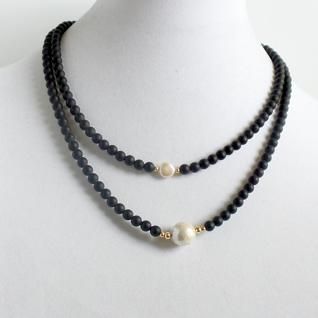 Onyx and Pearl Long Necklace