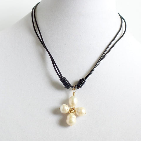 Pearl Cross Leather Choker
