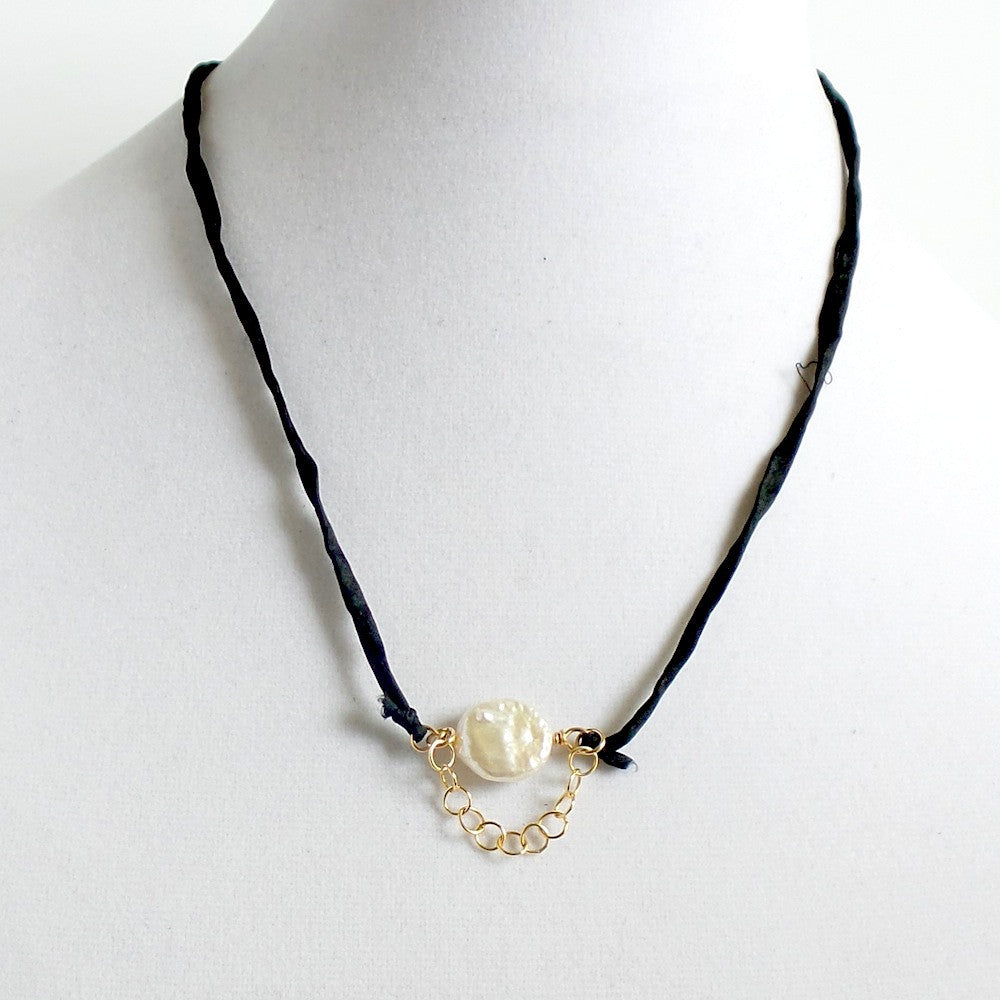 Pearl and Chain Silk Choker