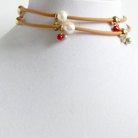 Rubber and Pearls Camel Choker