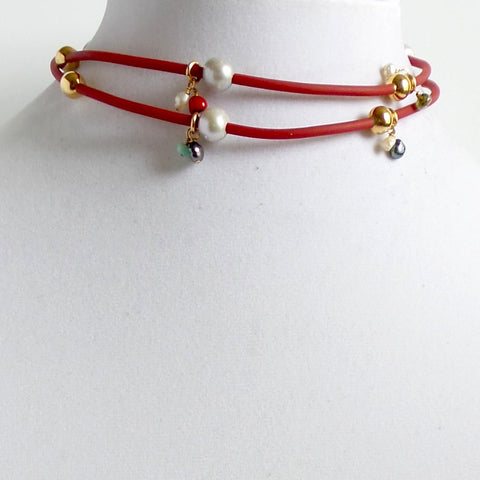 Rubber and Pearls Red Choker - Estilo Concept Store
