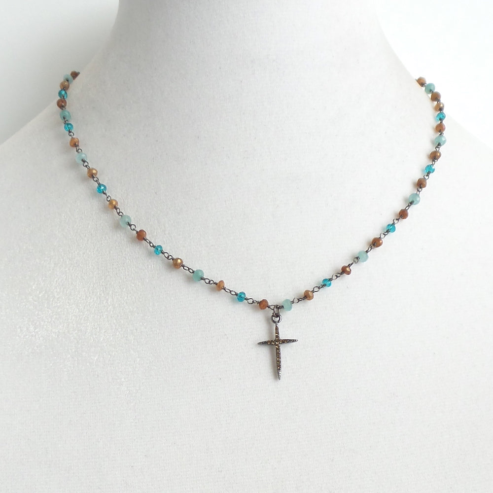 Angela Cross Pendant Necklace - Labradorite and London Quartz - Estilo Concept Store