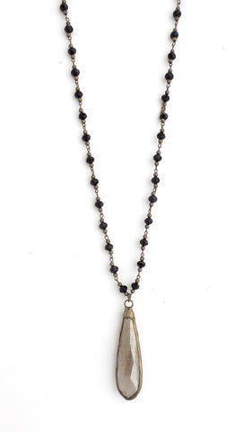 Snowdrop Black with Brass Long Necklace