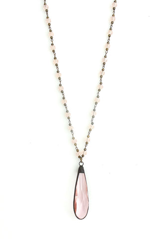 Snowdrop Clear Pink with Brass Long Necklace