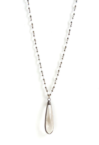 Snowdrop Clear with Brass Long Necklace