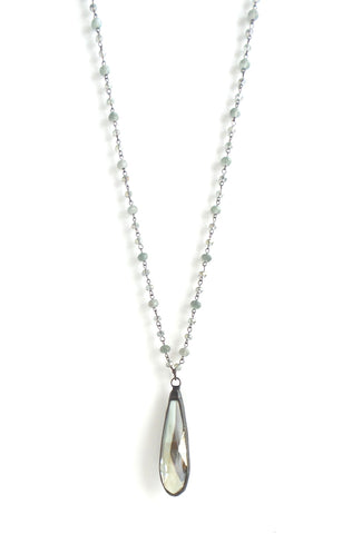 Snowdrop Matte Grey Long Necklace