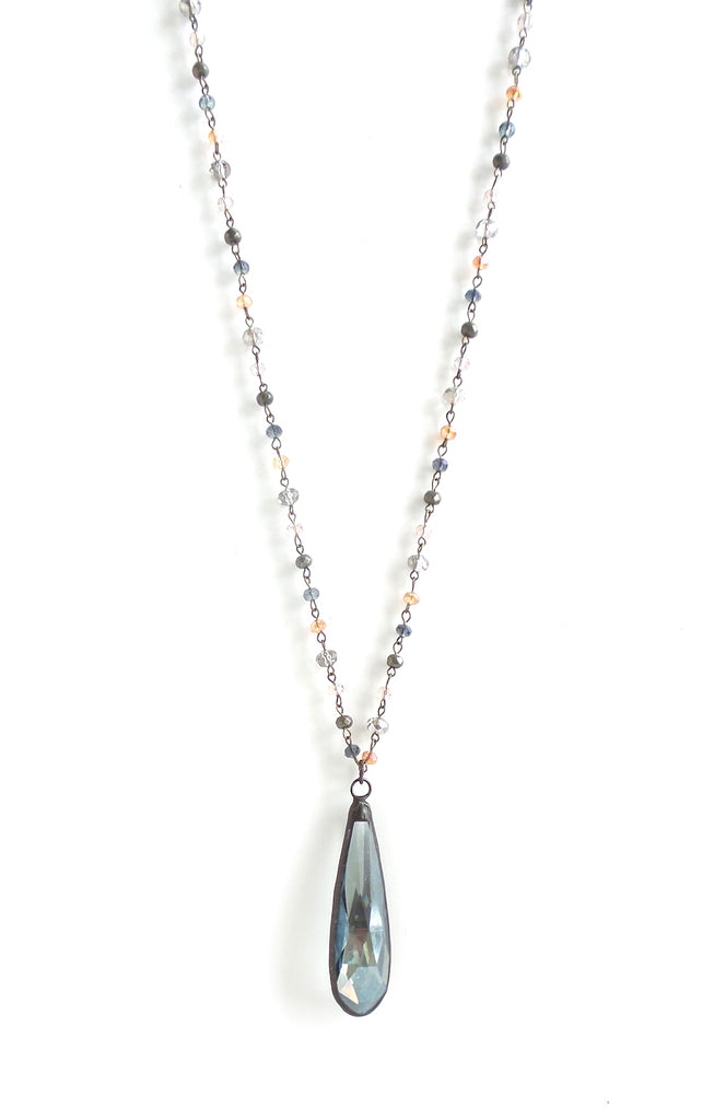 Snowdrop Navy and Amber Long Necklace - Estilo Concept Store