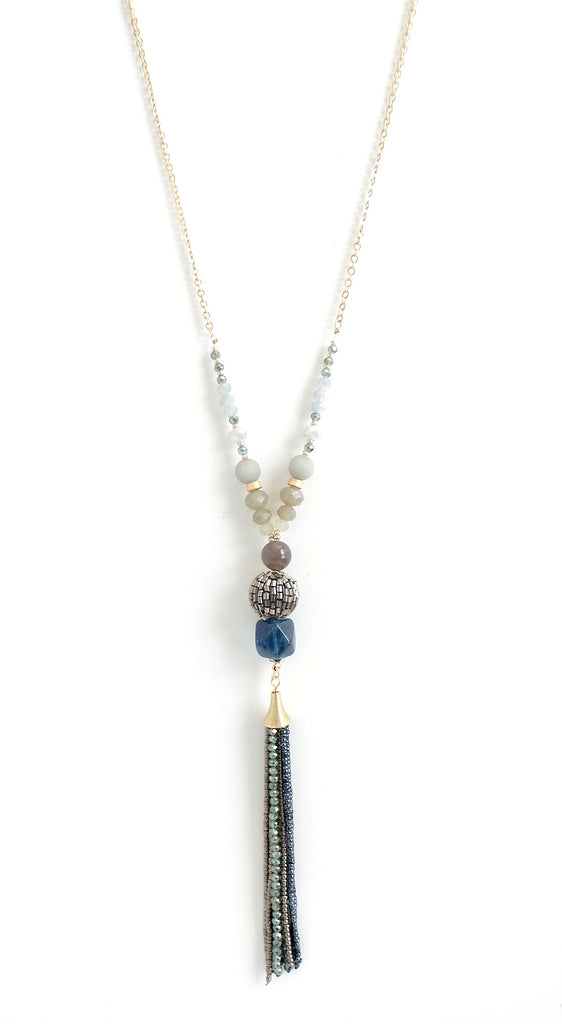 Beaded Blue Stone Y-Necklace - Estilo Concept Store