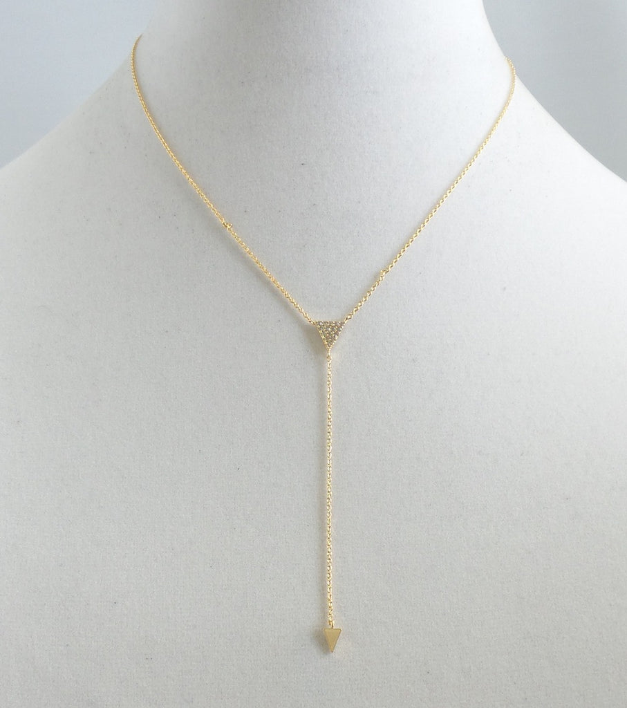 Double Gold Triangle Y-Necklace