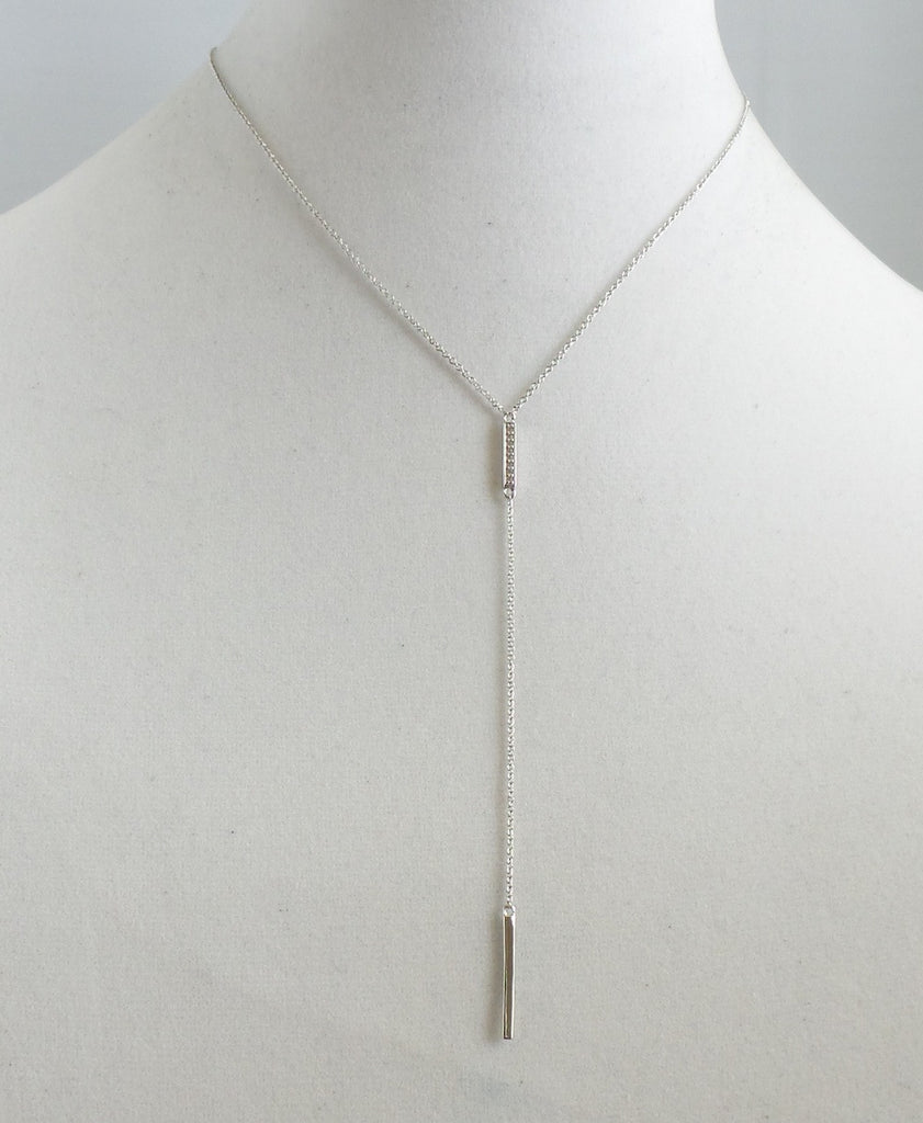 Double Silver Bar Y-Necklace