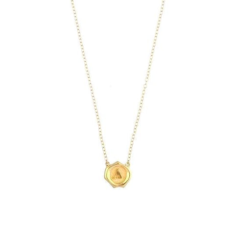 Gold Mini Seal Necklace *click for more letters - Estilo Concept Store