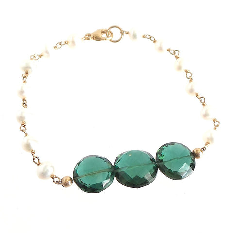 Green Quartz and Pearls Bracelet