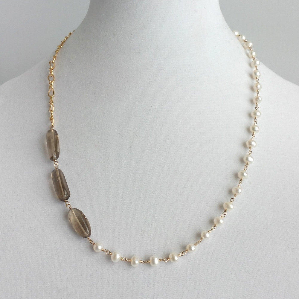 Quartz and Pearls Asymmetric Necklace