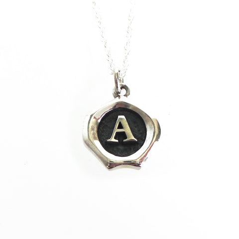 Small All Silver Seal Necklace *click for more letters - Estilo Concept Store