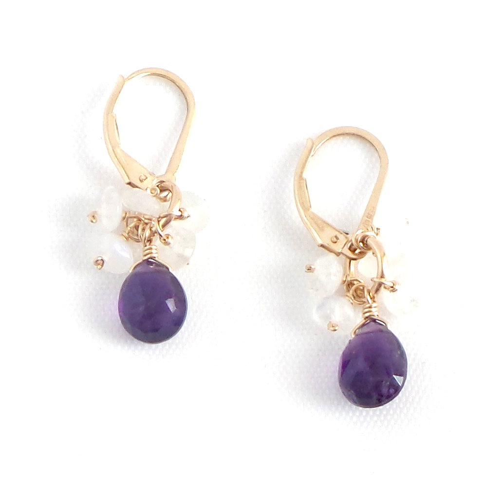 Amethyst and Moonstone Drop Earrings