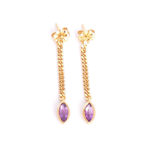 Amethyst Chain Linear Earrings