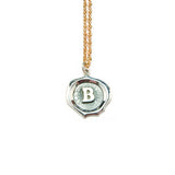 Big Silver Seal Necklace *click for more letters - Estilo Concept Store