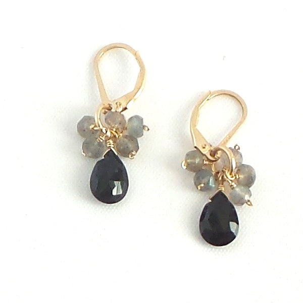 Black Spinel and Labradorite Drop Earrings - Estilo Concept Store
