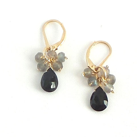 Black Spinel and Labradorite Drop Earrings