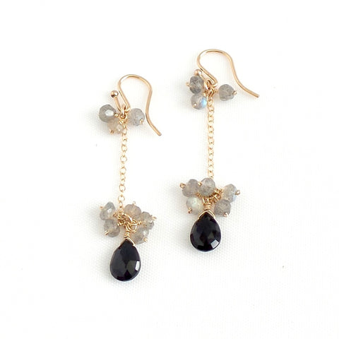 Black Spinel and Labradorite Linear Earrings