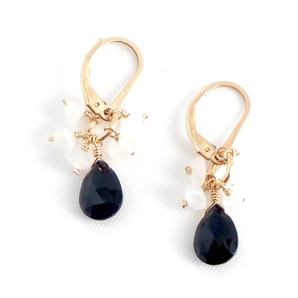 Black Spinel and Moonstone Drop Earrings