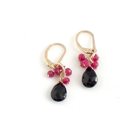 Black Spinel and Ruby Earrings