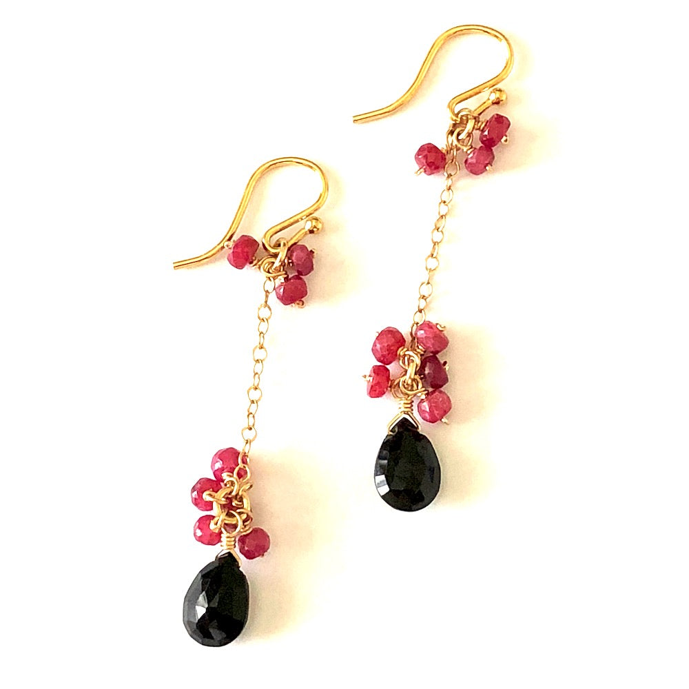 Black Spinel and Ruby Linear Earrings