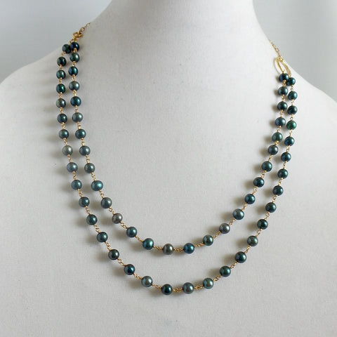 Blue Pearl Karma Necklace