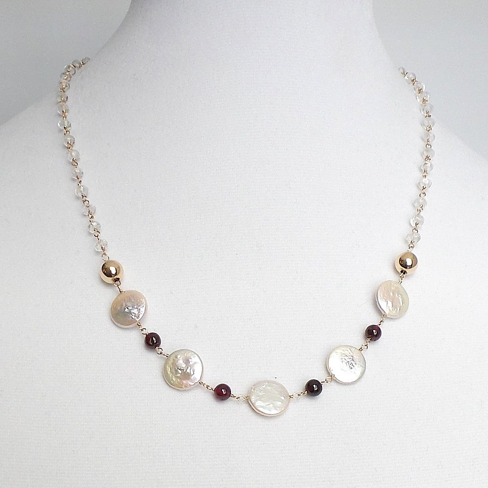 Coin Pearls with Granate Necklace