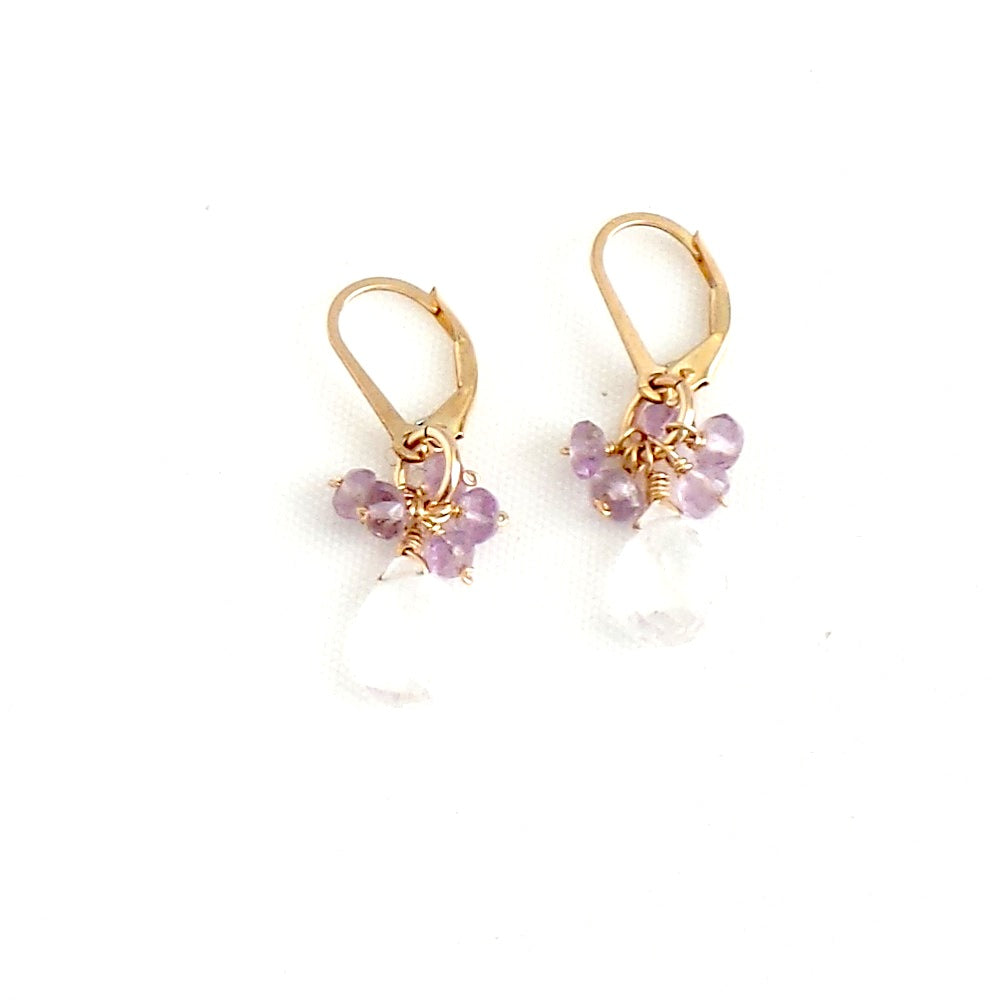 Crystal Quartz and Amethysts Earrings
