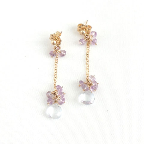 Crystal Quartz and Amethysts Linear Earrings
