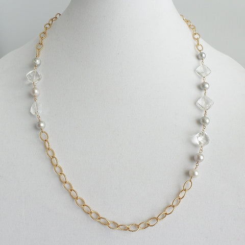 Crystals and Pearls Asymmetric Necklace