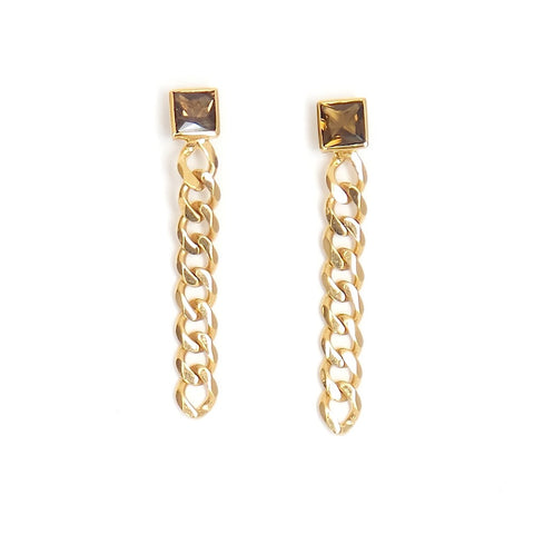 Beveled Chain and Smoke Quartz Linear Earrings