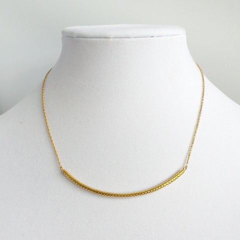 Gold Steel Rod Bar Pendant Necklace