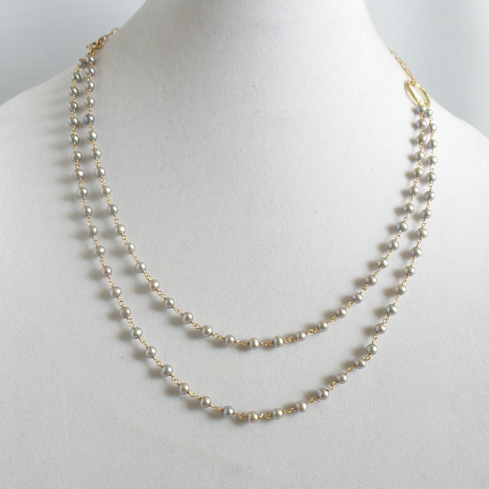 Gray Pearl Karma Necklace