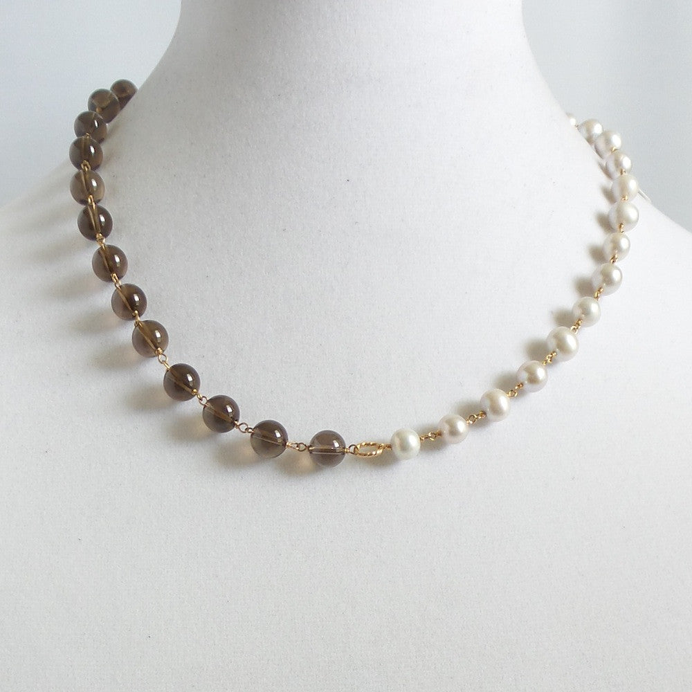 Gray Pearls and Smokey Quartz Necklace
