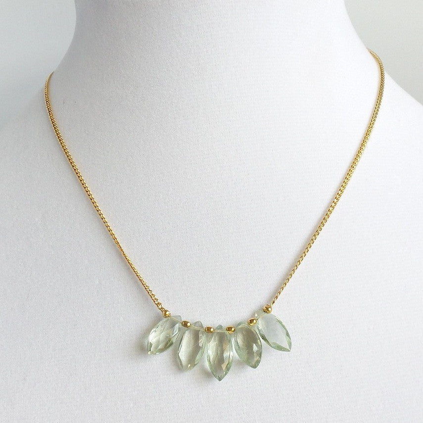 Green Amethyst Teardrops Necklace