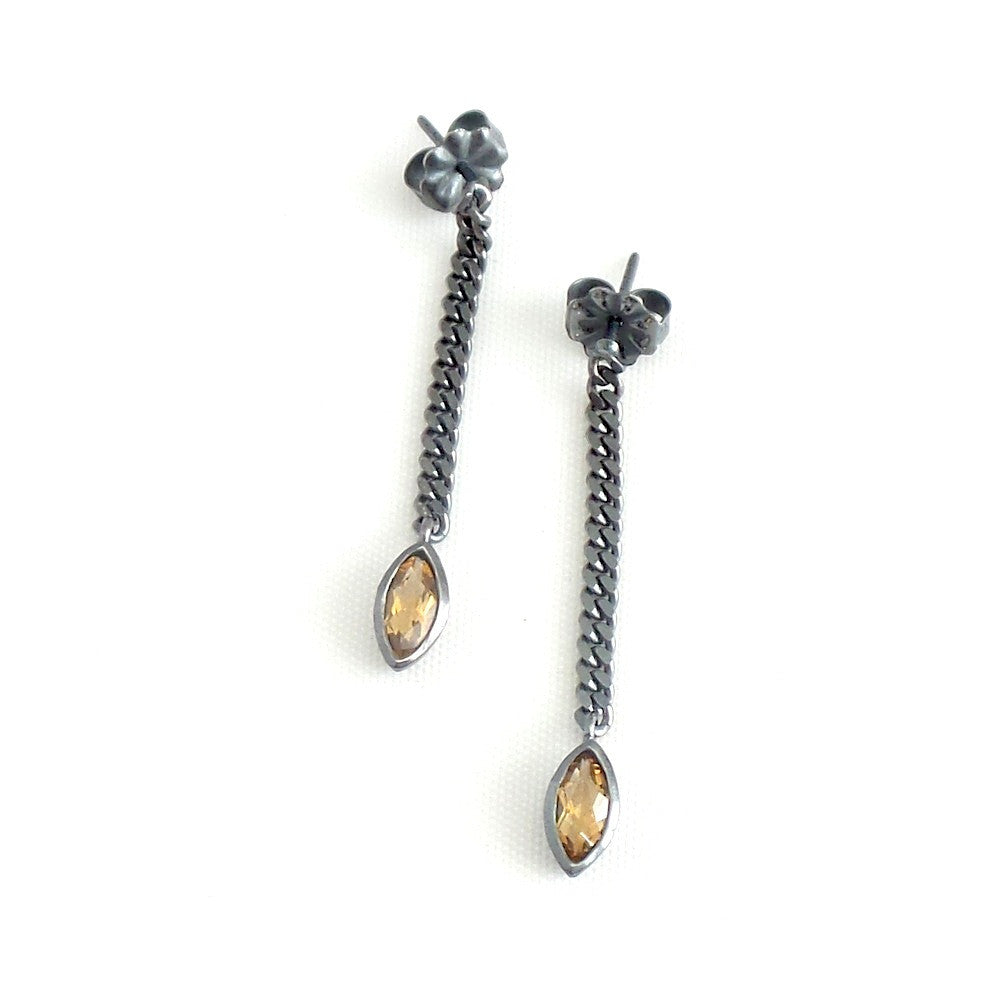 Gunmetal Citrine Chain Linear Earrings - Estilo Concept Store