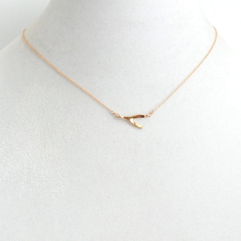 Horizontal Gold Wishbone Pendant Necklace - Estilo Concept Store