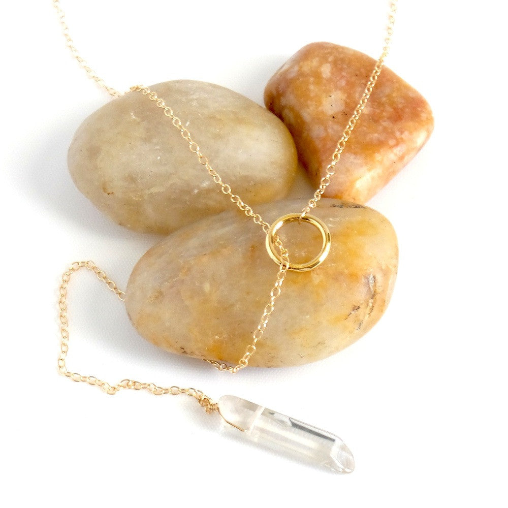 Karma and Quartz Lariat Necklace in Smoke or Clear - Estilo Concept Store