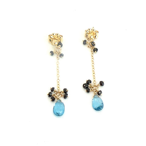 London Blue Topaz and Black Spinels Stud Earrings