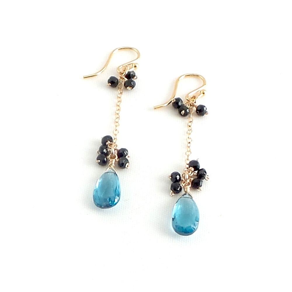 London Blue Topaz and Black Spinels French Earrings