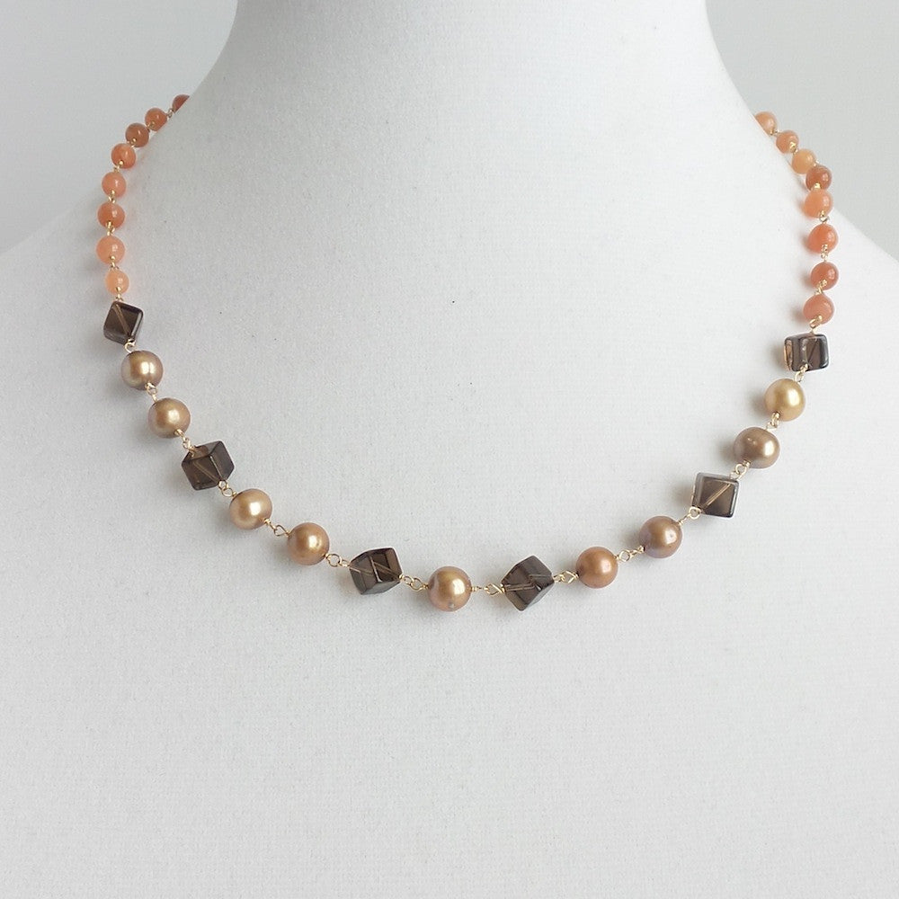 Moonstone Peach Necklace