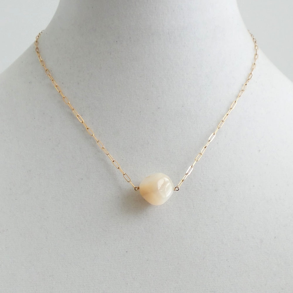 Mother of Pearl Cube Pendant Necklace