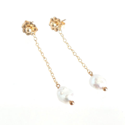 Pearl Nugget Long Pendant Earrings