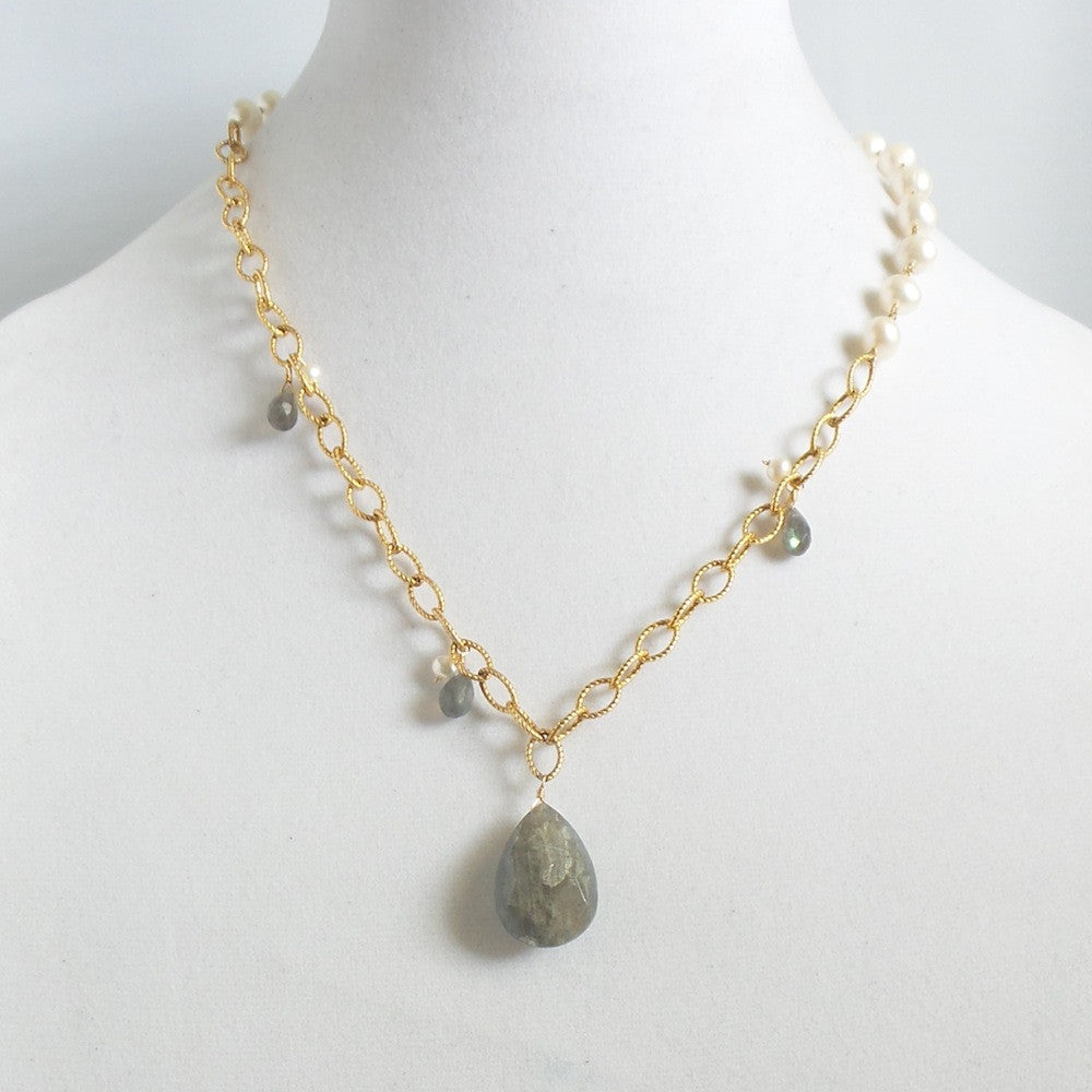 Pearls and Labradorite Necklace
