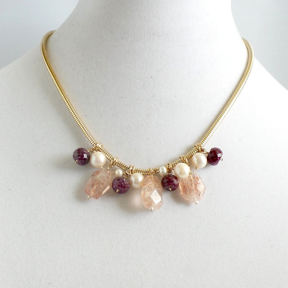 Quartz and Ruby Snake Chain Necklace