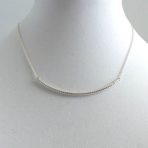 Curved Steel Rabel Silver Necklace