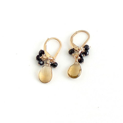 Smoked Quartz and Black Spinels Earrings